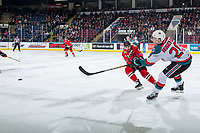 KELOWNA, CANADA - MARCH 3: Conner Bruggen-Cate #20 of the Kelowna Rockets takes a shot against the Portland Winterhawks  on March 3, 2019 at Prospera Place in Kelowna, British Columbia, Canada.  (Photo by Marissa Baecker/Shoot the Breeze)