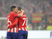 Koke and Antoine Griezmann celebrates during the Europa League Final match between Olympique de Marseille and Atletico Madrid at Orange Velodrome, Marseille, France on 16 May 2018. Picture by Ahmad Morra.