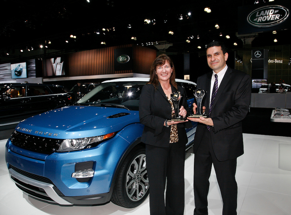 Kim McCullough, Brand Vice President, Land Rover North America and Andrew Polsinelli, General Manager Product Planning, Land Rover North America, accept the ALG Best Luxury Mid-sized Utility Vehicle Award for the 2012 Range Rover Sport and the ALG Best Luxury Compact Utility Vehicle Award for the 2012 Range Rover Evoque at the Los Angeles Auto Show on November, 16, 2011.