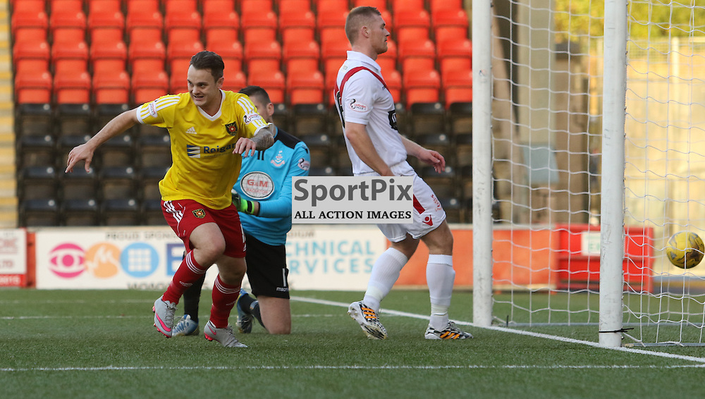 Albion Rover's Ally Love wheels away to celebrate slotting home the rebound from the missed penalty during the Airdrieonians FC V Albion Rovers FC Scottish League One 31st October 2015 ©Edward Linton | SportPix.org.uk