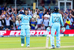 Ben Stokes of England celebrates hitting a six - Mandatory by-line: Robbie Stephenson/JMP - 14/07/2019 - CRICKET - Lords - London, England - England v New Zealand - ICC Cricket World Cup 2019 - Final