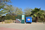 separation and Recycling bins for plastic and paper Photographed in Beer Sheva, Israel
