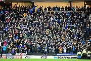 The portsmouth fans celebrate their teams victory during the EFL Sky Bet League 1 match between Milton Keynes Dons and Portsmouth at stadium:mk, Milton Keynes, England on 10 February 2018. Picture by Dennis Goodwin.