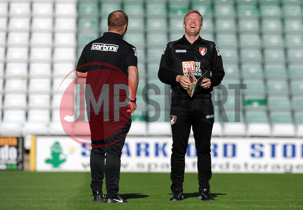 Bournemouth's Manager Eddie Howe is all smiles prior to kick off. - Photo mandatory by-line: Harry Trump/JMP - Mobile: 07966 386802 - 28/07/15 - SPORT - FOOTBALL - Pre Season Fixture - Yeovil Town v Bournemouth - Huish Park, Yeovil, England.