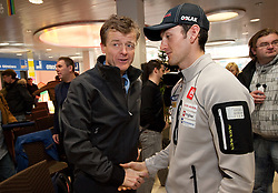 Matija Vojsk of SZS and Jakov Fak at press conference of Slovenia Biathlon team before new season 2010 - 2011, on November 24, 2010, in Emporium, BTC, Ljubljana, Slovenia.  (Photo by Vid Ponikvar / Sportida)