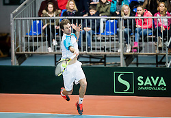 Blaz Kavcic of Slovenia playing doubles during Day 2 of the Davis Cup Slovenia vs Monaco competition, on February 4, 2017 in Tennis Arena Tabor, Maribor Slovenia. Photo by Vid Ponikvar / Sportida