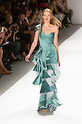 One shoulder pleated gown in aqua and white. By Carlos Miele at the Spring 2013 Mercedes-Benz Fashion Week in New York.