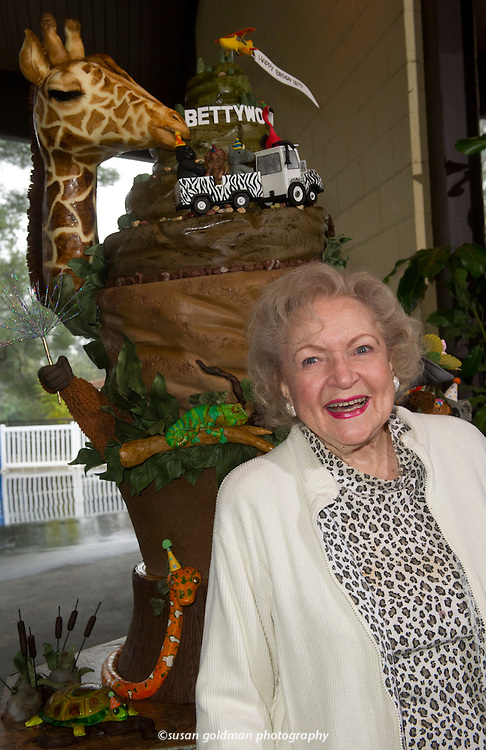 "Iconic actress Betty White is presented with a life size birthday cake for her 90th birthday, created by the Le Cordon Bleu College of Culinary Arts at the LA Zoo. White's favorite animals at the LA Zoo, including a giraffe, elephant, koala, parrot, snake and porcupine, and the word ""Bettywood"" in the image of the iconic Hollywood Hills decorate the chocolate blackout cake containing 90 lbs. of sugar, 470 eggs, 50 lbs. of butter among other ingredients. Photo/Le Cordon Bleu College of Culinary Arts, Susan Goldman."