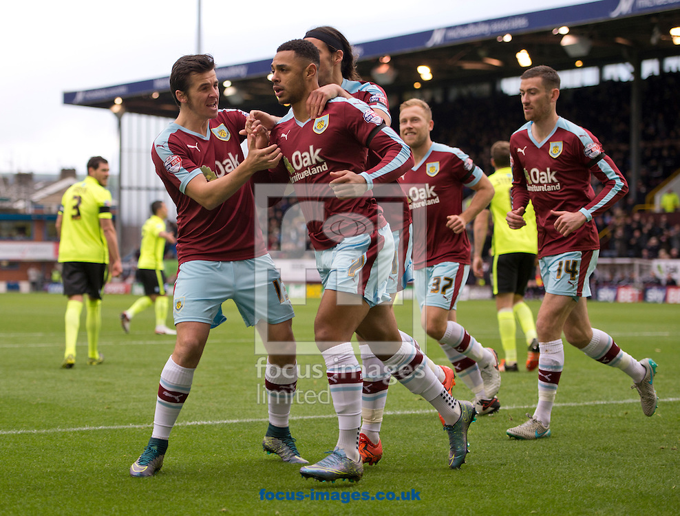 Andre Gray of Burnley (4th left) celebrates after scoring his team's 1st goal from the penalty spot to make it 1-1 during the Sky Bet Championship match at Turf Moor, Burnley<br /> Picture by Russell Hart/Focus Images Ltd 07791 688 420<br /> 22/11/2015