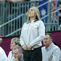 30 July 2012: Australia head coach Carrie Graf during the 74-70 Team France overtime victory over Team Australia, during the women's basketball preliminary, at the Basketball Arena, in London, Great Britain.