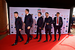 LIVERPOOL, ENGLAND - Thursday, May 10, 2018: Liverpool's Ben Woodburn, goalkeeper Danny Ward, Andy Robertson, Danny Ings and Trent Alexander-Arnold arrive on the red carpet for the Liverpool FC Players' Awards 2018 at Anfield. (Pic by David Rawcliffe/Propaganda)