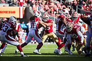 San Francisco 49ers strong safety Eric Reid (35) battles Arizona Cardinals wide receiver Larry Fitzgerald (11) at Levi's Stadium in Santa Clara, Calif., on November 5, 2017. (Stan Olszewski/Special to S.F. Examiner)