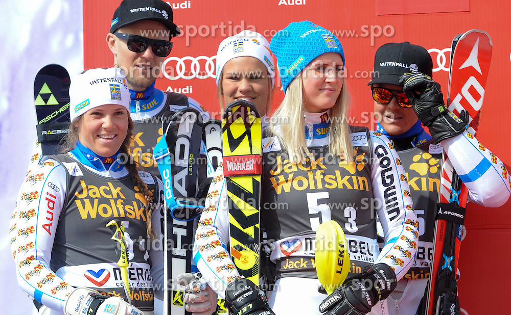 20.03.2015, Roc de Fer, Meribel, FRA, FIS Weltcup Ski Alpin, Meribel, Teambewerb, Siegerehrung, im Bild Team Schweden (SWE, 2. Platz) // second placed Team Sweden during winner Ceremony for the Nation Grand Prix of FIS World Cup finals at the Roc de Fer in Meribel, France on 2015/03/20. EXPA Pictures © 2015, PhotoCredit: EXPA/ Erich Spiess