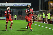 Roarie Deacon of Crawley Town celebrates his goal 2-1 during the Sky Bet League 2 match between Crawley Town and Stevenage at the Checkatrade.com Stadium, Crawley, England on 26 December 2015. Photo by Phil Duncan.