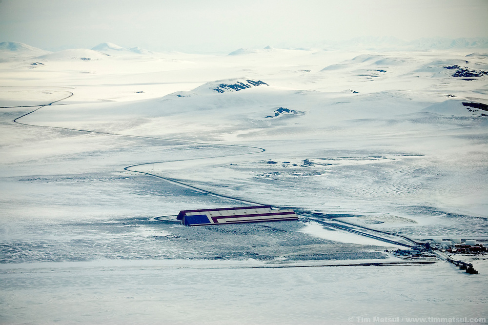May 1, 2008 -- Kivalina, AK, U.S.A..Aerial view of the Red Dog Mine port facility, one of the few employers on of the northeast coast of Alaska between Kotzebue and Kivalina. (Photo by Tim Matsui)