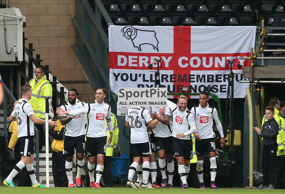 DERBY, UNITED KINGDOM 29 OCTOBER 2016:   Derby County celebrate Cyrus Chrisite's goal during the league game between Derby County and Sheffield Wednesday in the Football League Championship at Pride Park Stadium, on October 29, 2016 in Derby, England. (Photo by Michael Poole)