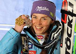 17-02-2011 SKIEN: FIS ALPINE WORLD CHAMPIONSSHIP: GARMISCH PARTENKIRCHEN<br /> Gold Medal and World Champion Tina Maze (SLO) during Giant Slalom<br /> **NETHERLANDS ONLY**<br /> ©2011-WWW.FOTOHOOGENDOORN.NL/EXPA/ M. Gunn