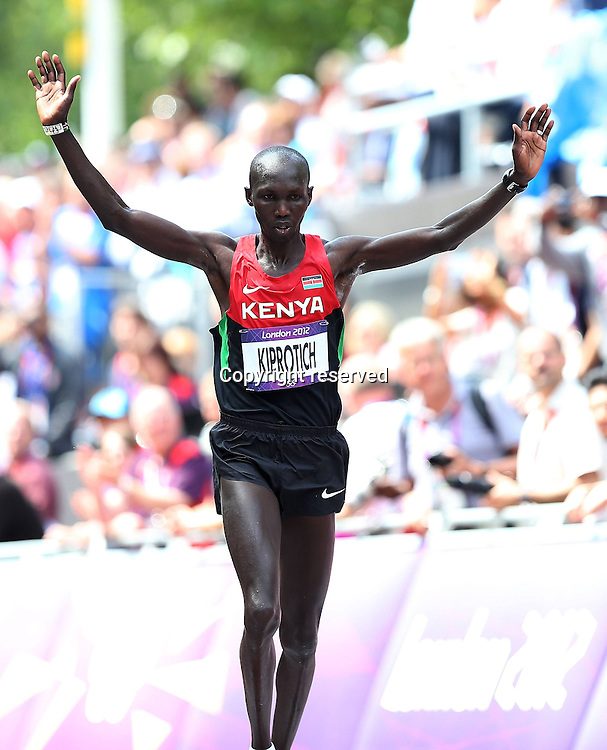 12.08.2012. London, England. Wilson Kipsang Kiprotich of Kenya Celebrates After finishing the Mens Marathon Competition  London 2012 Olympic Games  Kipsang Kiprotich of Kenya Won Bronze Medal