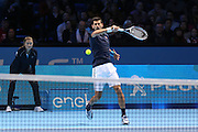 Novak Djokovic (Serbia) during the final of the Barclays ATP World Tour Finals at the O2 Arena, London, United Kingdom on 20 November 2016. Photo by Phil Duncan.