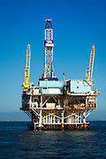 Off-shore oil platform, Santa Barbara Channel, Ventura, California USA