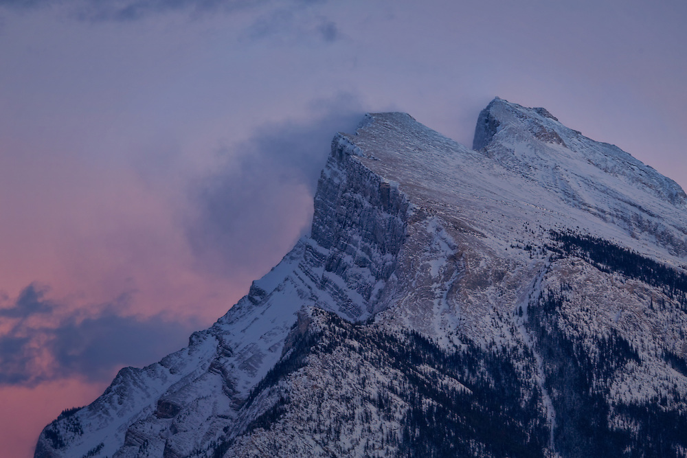 Mountain peak in the Canadian Rockies at sunset, near Banff, Alberta, Canada