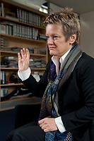 12 OCT 2010, BERLIN/GERMANY:<br /> Renate Kuenast, B90/Gruene, Fraktionsvorsitzende, waehrend einem Interview, in ihrem Buero, Jakob-Kaiser-Haus, Deutscher Bundestag<br /> IMAGE: 20101012-01-002<br /> KEYWORDS: Renate Künast