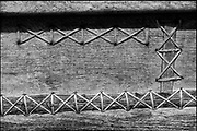 Sri Lanka.<br />Detail of the hull of a boat. These boats, are sewn together and sometimes have old copper coins for rivets.