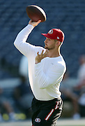 San Francisco 49ers quarterback Jeff Driskel (6) throws a pregame pass while warming up before the 2016 NFL preseason football game against the San Diego Chargers on Thursday, Sept. 1, 2016 in San Diego. The 49ers won the game 31-21. (©Paul Anthony Spinelli)