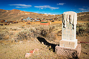Tombstone in the Bodie Cemetery above the town, Bodie State Historic Park, California USA