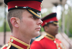 LtoR: Lance Corporal Chris Haymonds, 25, The Blues &amp; Royals, and Lance Corporal Ritesh Raj, 28, of The Lifeguards await the start of the Cavalry Memorial Parade.<br /> <br /> HRH Prince Andrew, Duke of York KG GCVO Colonel in Chief The 9th/12th Royal  Lancers took the salute today, Sunday 20th May 2012 at the Annual Parade &amp; Service of The Combined Cavalry Old Comrade Association, at the Cavalry Memorial, Hyde Park.<br /> 2012.<br /> Picture by Trooper Mark Larner, RY.