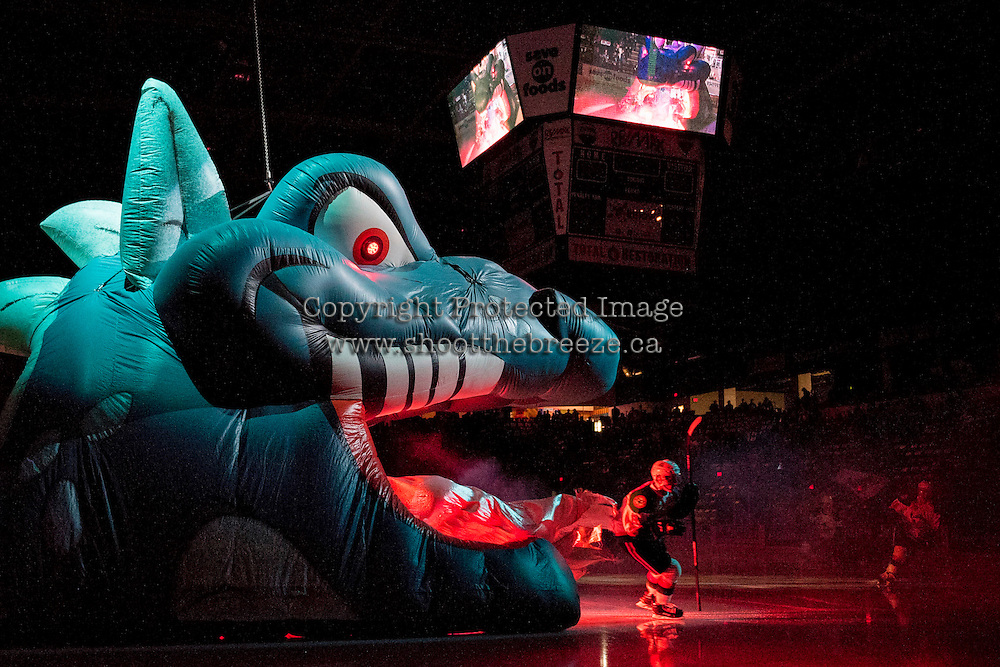 KELOWNA, CANADA - JANUARY 7: The Kelowna Rockets enter the ice against the Kamloops Blazers on January 7, 2017 at Prospera Place in Kelowna, British Columbia, Canada.  (Photo by Marissa Baecker/Shoot the Breeze)  *** Local Caption ***