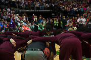 Mississippi State Lady Bulldogs huddles up before tipoff against the South Carolina Gamecocks during the NCAA Women's Championship game at the American Airlines Center in Dallas, Texas on April 2, 2017.  (Cooper Neill for The Players Tribune)
