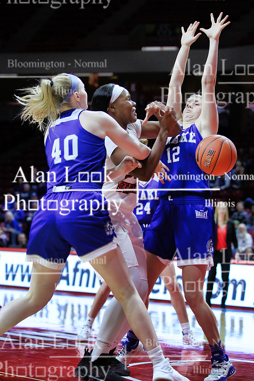 NORMAL, IL - January 06: Simone Goods gets hacked by Mya Mertz during a college women's basketball game between the ISU Redbirds and the Drake Bulldogs on January 06 2019 at Redbird Arena in Normal, IL. (Photo by Alan Look)
