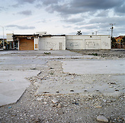 Abandoned car dealership on Federal Highway near Pompano Beach, Florida.