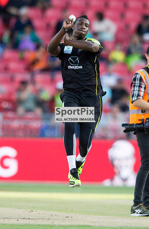 KFC Big Bash League T20 2015-16 , Sydney Thunder v Perth Scorchers, Spotless Stadium; 7 January 2016<br /> Sydney Thunder Andre Russell Warms up before the match against the Scorchers.