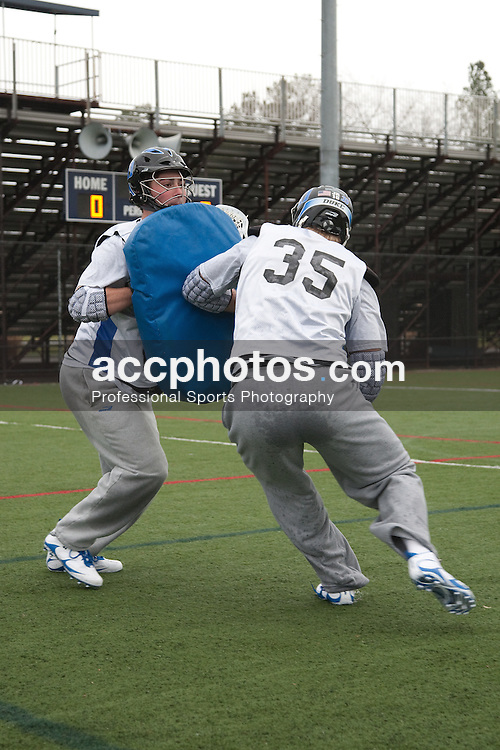22 January 2010: Duke Blue Devils men's lacrosse during a practice on the turf in Durham, NC.