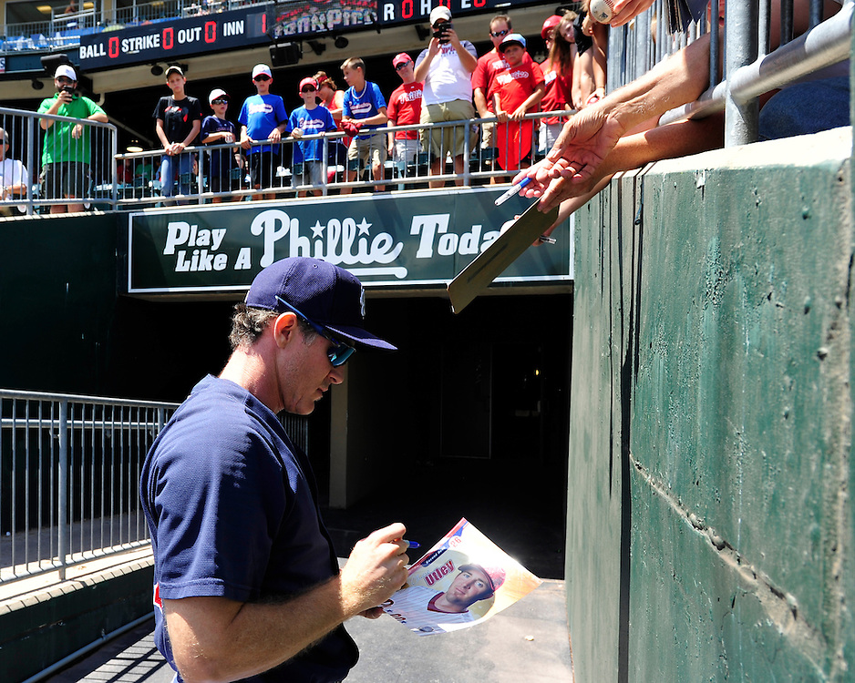 Chase Utley signs autographs for fans. Philadelphia Phillies 2nd baseman Chase Utley rehabs with the Lehigh Valley IronPigs in a game against the Norfolk Tides August 2nd, 2015, at Coca-Cola Park in Allentown.