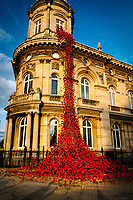 Queen Victoria Square, Kingston Upon Hull, East Yorkshire, United Kingdom, 05 April, 2017. Pictured: A cascade of several thousand handmade ceramic poppies. Weeping Window was originally  part of the installation Blood Swept Lands and Seas of Red at the Tower of London