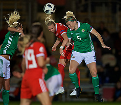 NEWPORT, WALES - Tuesday, September 3, 2019: Wales' Rhiannon Roberts (L) and Northern Ireland's Julie Nelson during the UEFA Women Euro 2021 Qualifying Group C match between Wales and Northern Ireland at Rodney Parade. (Pic by David Rawcliffe/Propaganda)
