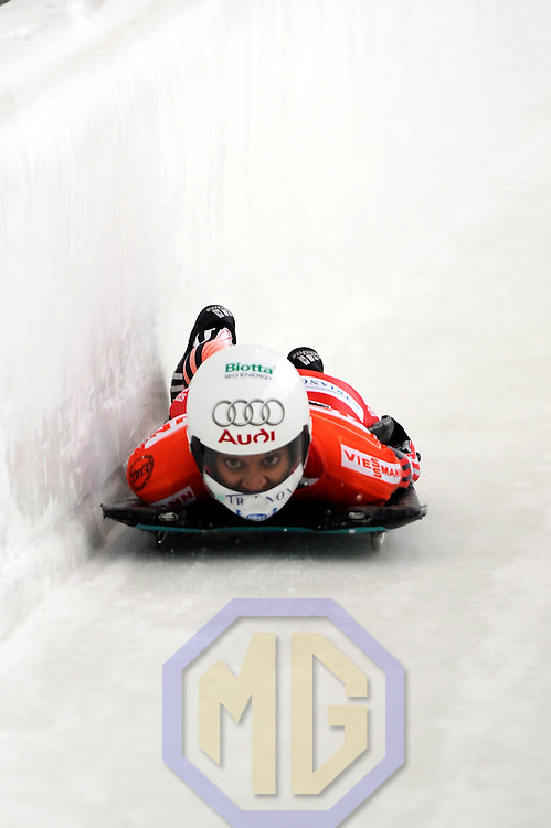 14 December 2007:  Jessica Kilian of Switzerland competes at the FIBT World Cup Women's skeleton competition on December 14, 2007 at the Olympic Sports Complex in Lake Placid, NY.  The race was won by Katie Uhlander of the United States.