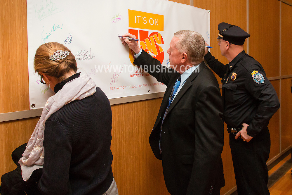 "Goshen, New York - Orange  County  District  Attorney  David  M.  Hoovler announced  the  beginning  of the ""It's On Us Orange County, N.Y."" initiative,  a countywide effort designed to inspire everyone to see it as their responsibility to do something, big or small, to prevent sexual assault. Hoovler was joined by representatives from the national It's On Us campaign, SUNY Orange, Mount Saint Mary College, and the United States Military Academy, as well as state, county, local, and school district officials, and other community representatives."