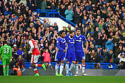 Chelsea midfielder Willian (22) and Chelsea forward Diego Costa (19) celebrate Chelsea midfielder Cesc Fabregas (4) goal 3-0 during the Premier League match between Chelsea and Arsenal at Stamford Bridge, London, England on 4 February 2017. Photo by Jon Bromley.
