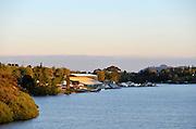 Hamilton, NEW ZEALAND.  Sunrise over Lake KARAPIRO,  venue for the 2010 World Rowing Championships - Lake Karapiro. Sunday. 07.11.2010.  [Mandatory Credit Peter Spurrier:Intersport Images].Hamilton, NEW ZEALAND.  Sunrise over, Lake KARAPIRO, , lighting the grandstand, venue for the 2010 World Rowing Championships - Lake Karapiro. Sunday. 07.11.2010.  [Mandatory Credit Peter Spurrier:Intersport Images].