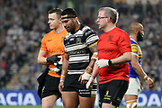 Hull FC second row forward Sika Manu (21) is injured during the Betfred Super League match between Hull FC and Leeds Rhinos at Kingston Communications Stadium, Hull, United Kingdom on 19 April 2018. Picture by Mick Atkins.