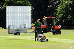 © Licensed to London News Pictures. 24/06/2014. Groundsman cutting the grass around the cricket field. Greenwich Park sunny weather,today 24th June 2014. Byline:Grant Falvey/LNP