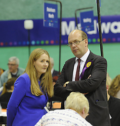 © Licensed to London News Pictures. 08/05/2015<br /> Local Parliamentary Elections TONIGHT (08.05.2015)<br /> Mark Reckless with his wife, Catriona Brown-Reckless,<br /> <br /> Catriona Brown-Reckless,  is now a UKIP Councillor for Strood South after her win tonight at the Local election count in Medway,Kent<br /> <br /> Local Election count 2015  in Medway, Kent at Medway Park Sports Centre,Gillingham.<br />  <br /> (Byline:Grant Falvey/LNP)
