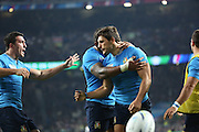 Giovanbattista Venditti (Italy's winger) celebrating scoring Italy's first try during the Rugby World Cup Pool D match between France and Italy at Twickenham, Richmond, United Kingdom on 19 September 2015. Photo by Matthew Redman.