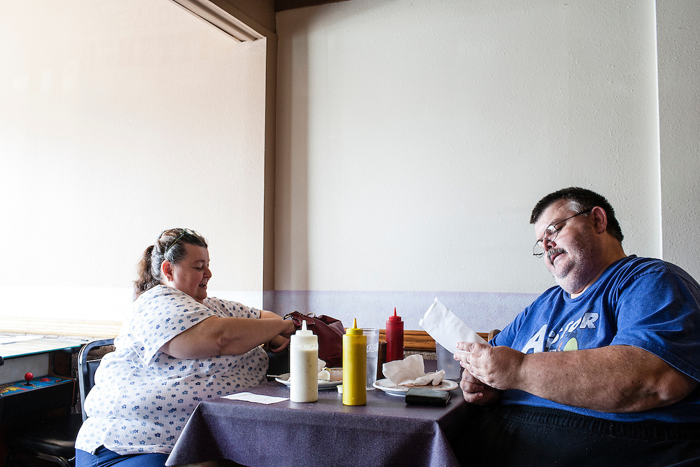 "Pierre ""Heavy"" Hilpipre and his sister have lunch at Leon's Restaurant on Friday, March 23, 2012 in Webster City, IA."