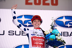 Liane Lippert (GER) earns the climber's jersey after Stage 2 of 2020 Santos Women's Tour Down Under, a 114.9 km road race from Murray Bridge to Birdwood, Australia on January 17, 2020. Photo by Sean Robinson/velofocus.com
