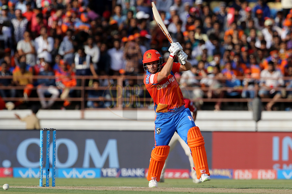 Aaron Finch of the Gujarat Lions plays a shot during match 26 of the Vivo 2017 Indian Premier League between the Gujarat Lions and the Kings XI Punjab held at the Saurashtra Cricket Association Stadium in Rajkot, India on the 23rd April 2017<br /> <br /> Photo by Vipin Pawar - Sportzpics - IPL